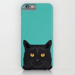 Cat head black cat peeking gifts for cat lovers pet portraits iPhone Case