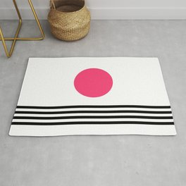 Pink Abstract Sunset Over Black Stripe Waves Rug