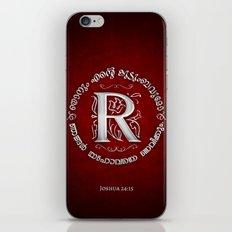 Joshua 24:15 - (Silver on Red) Monogram R iPhone & iPod Skin