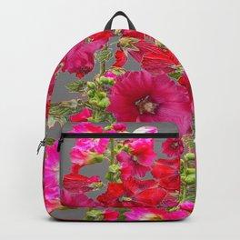 AWESOME FUCHSIA  RED HOLLYHOCKS GARDEN GREY ART Backpack