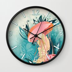 Jellyfish tangling Wall Clock