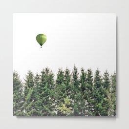 Float Away - Hot Air Balloon Forest Photograph Metal Print