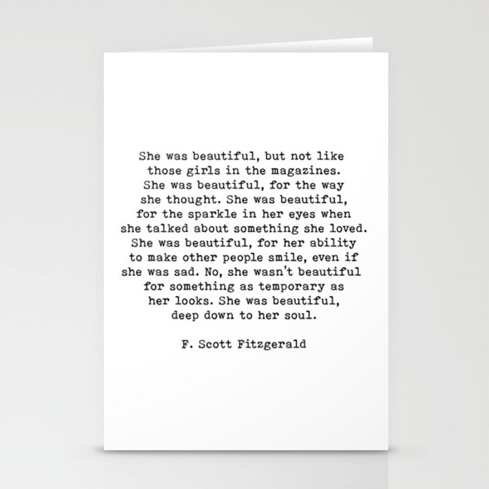 She Was Beautiful, F. Scott Fitzgerald, Quote Stationery Cards