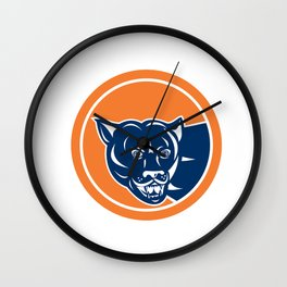 Puma Mountain Lion Head Prowl Circle Retro Wall Clock