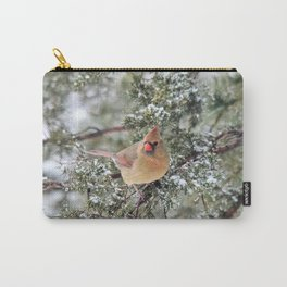 Frosty Female Cardinal Carry-All Pouch
