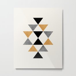Aztec Graphic - Gold Gray Metal Print
