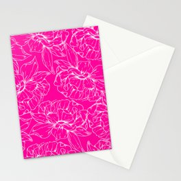 Neon pink white hand painted floral illustration Stationery Cards