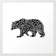 Bear with giraffe pattern Art Print