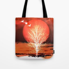 Sun in red Tote Bag