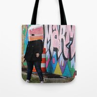 detroit Tote Bags featuring Detroit Graffiti by ashurcollective