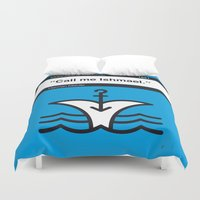 moby dick Duvet Covers featuring No001 MY MOBY DICK Book Icon poster by Chungkong