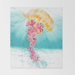 Jellyfish with Flowers Throw Blanket