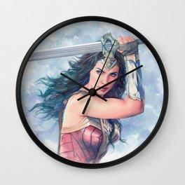WonderWoman watercolor 2 Wall Clock