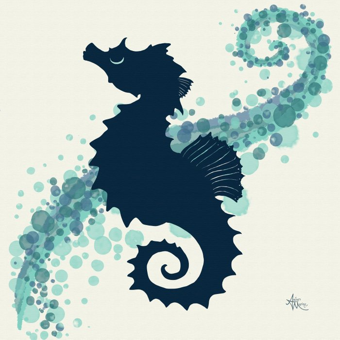 """""""Seahorse Silhouette"""" ` digital illustration by Amber Marine, (Copyright 2015) Duvet Cover"""