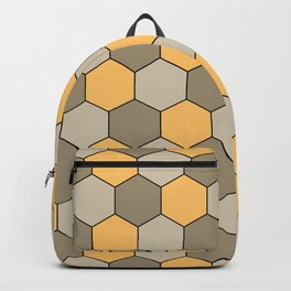 Honeycombs op art beige Backpack