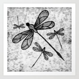 Bold black and white embroidered dragonflies on texture Art Print