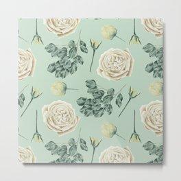 Rose Pattern Cream + Mint Green Metal Print