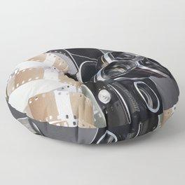 Retro mechanical movie camera and reel film Floor Pillow