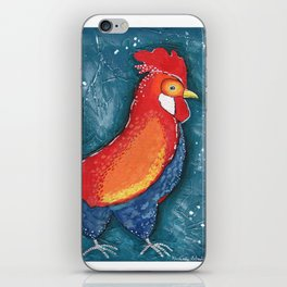 Colorful Rooster on Teal Blue Background by Kimberly Schulz iPhone Skin