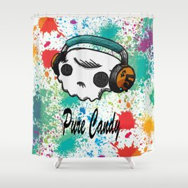 Skull headphones Pure Candy Shower Curtain