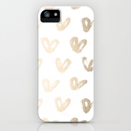 Luxe Gold Hearts on White iPhone Case