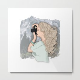 Girl Takes Pictures Of The Mountains Metal Print