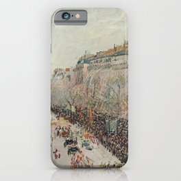 Mardi Gras on Monmartre Boulevard in Paris by Camille Pissarro iPhone Case