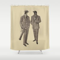 suits Shower Curtains featuring Birds of a Feather by Terry Fan