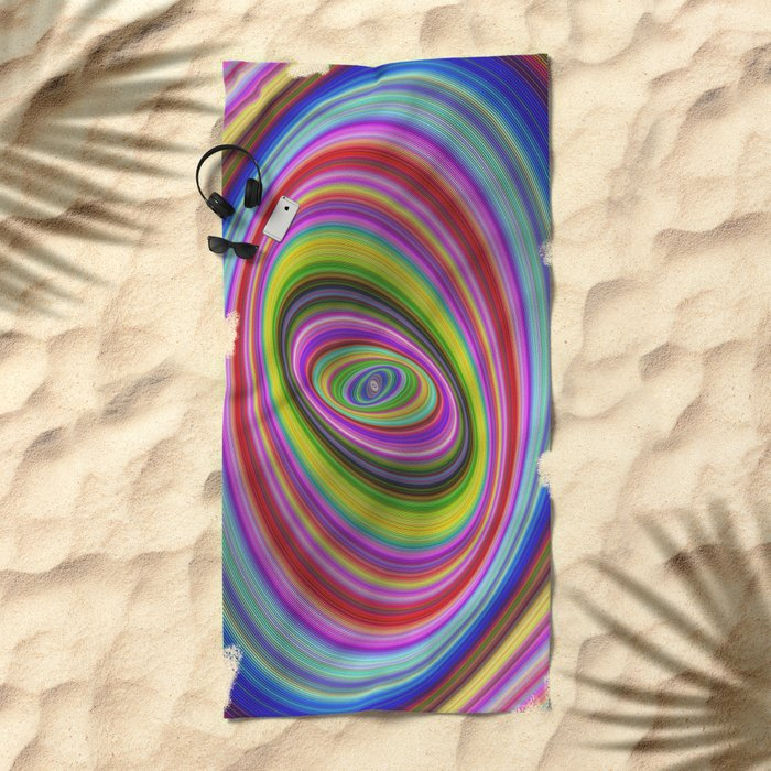 Colorful hypnosis Beach Towel