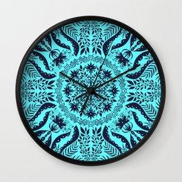 Light Teal Botanical Folk Tile  Wall Clock