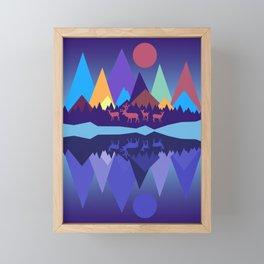 Deer in the Mountains Framed Mini Art Print