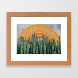 Cactus and Rainbow Framed Art Print