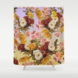 Chrysanthemum Floral Pattern on Lavender Purple Shower Curtain