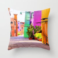 street Throw Pillows featuring street by Asano Kitamura