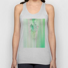 Abstract Cascade Glitch 1.Green Unisex Tank Top