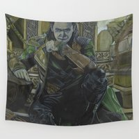 loki Wall Tapestries featuring Loki by theMAINsketch