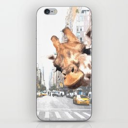 Selfie Giraffe in New York iPhone Skin