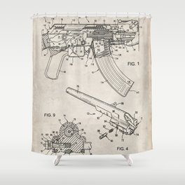 Ak-47 Rifle Patent - Ak-47 Firing Mechanism Art - Antique Shower Curtain