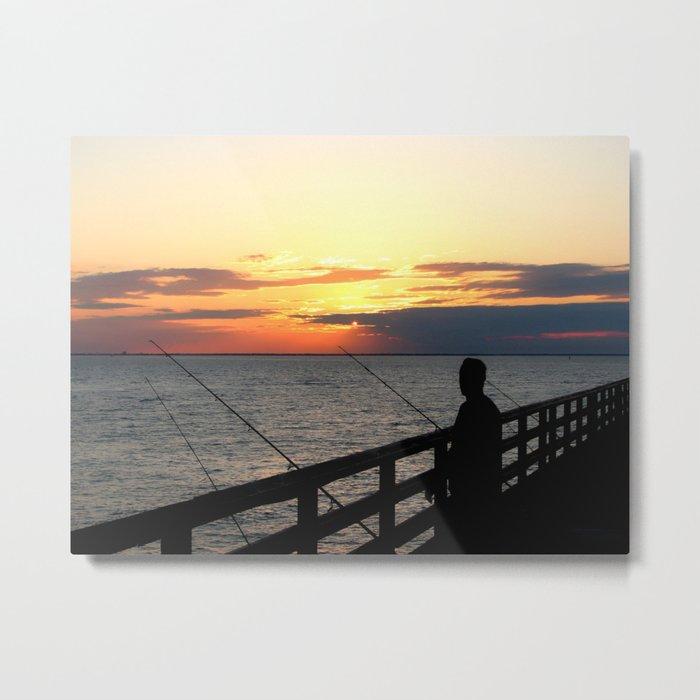Fishing at Chesapeake Bay bridge Metal Print