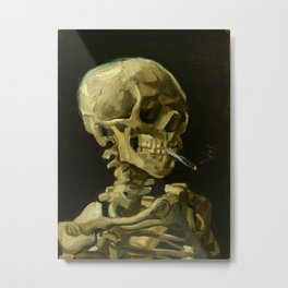 Skull of a Skeleton with Burning Cigarette Painting by Vincent van Gogh Metal Print