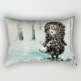 Hedgehog in the fog Rectangular Pillow