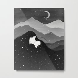 Mountain's Lullaby - Black & White Metal Print