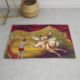 Vintage 19th Century Traveling Circus Arabian Horses Act Poster Rug