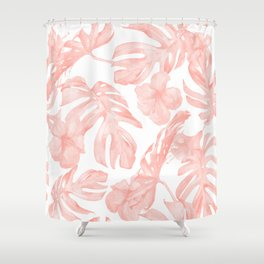 Tropical Palm Leaves Hibiscus Flowers Coral Pink Shower Curtain