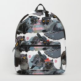 Freddy- Cat pattern white pink and grey Backpack