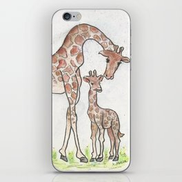Giraffe and her Calf iPhone Skin