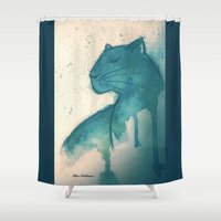 panther Shower Curtains featuring Panther by elisacalderoni92