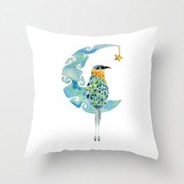 Bobo bird on the moon Throw Pillow