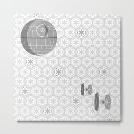 Star Wars Death Star, Tie Fighters, and Imperial Crest in Gray Metal Print