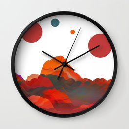 """Coral Sci-Fi Mountains"" Wall Clock"